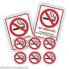 No Smoking Pack/Set of  Adhesive 50mm Rounds Premises Signs Shop Business Unit